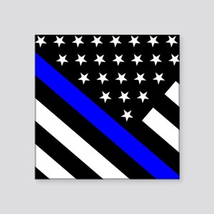 "Police Flag: Thin Blue Line Square Sticker 3"" x 3"""